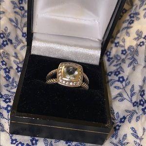 David Yurman White Topaz Ring Size 6